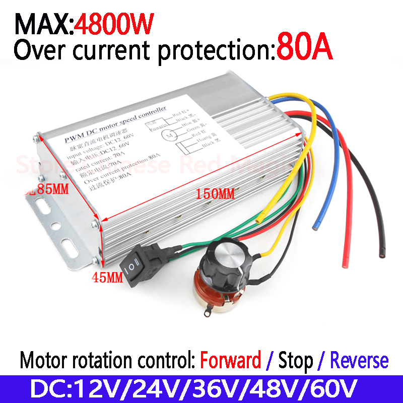 Free shipping DC Motor Controller 4800W High Power 80A 12V24V36V48V60V Motor Drive Motor rotation control Forward Stop Reverse wl v911 black remoter controller motor battery upgrades accessories for wl v911 parts free shipping