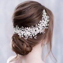 Цветочная повязка на голову, свадебные аксессуары для волос, Серебряные стразы, цветок, свадебная тиара, повязка на голову, гребень для волос, шпильки, свадебные украшения для волос