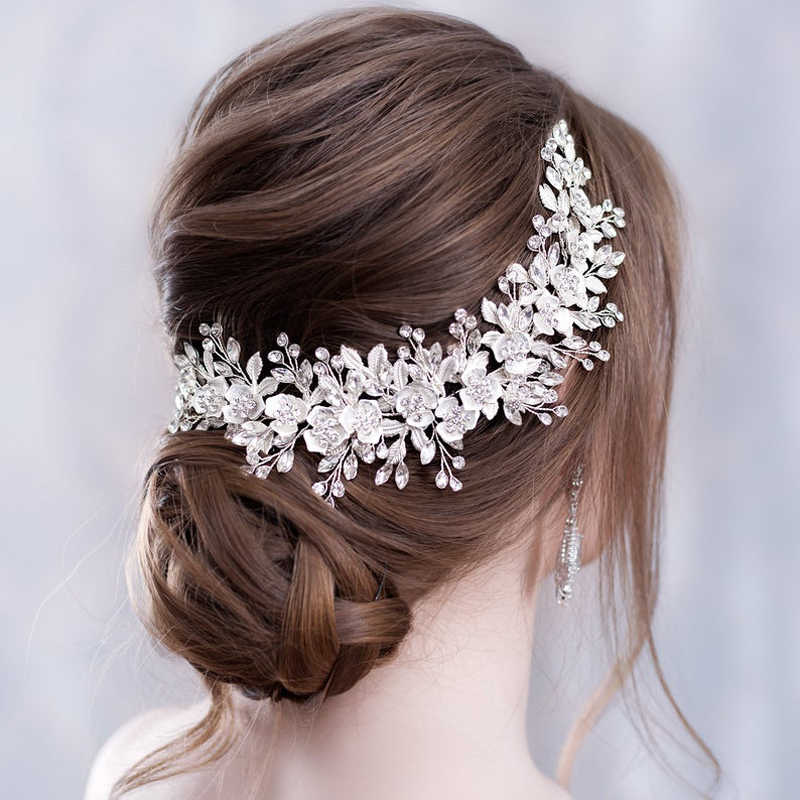 Flower Headband Wedding Hair Accessories Silver Rhinestone Flower Bridal Tiara Headband Hair Comb Hairpins Wedding Hair Jewelry