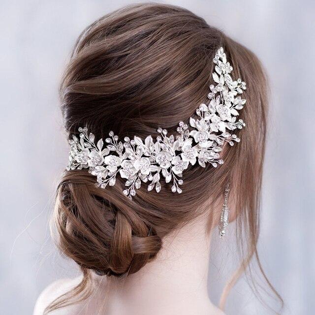 Цветочная повязка на голову, свадебные аксессуары для волос, Серебряные стразы, цветок, свадебная тиара, повязка на голову, гребень для воло...