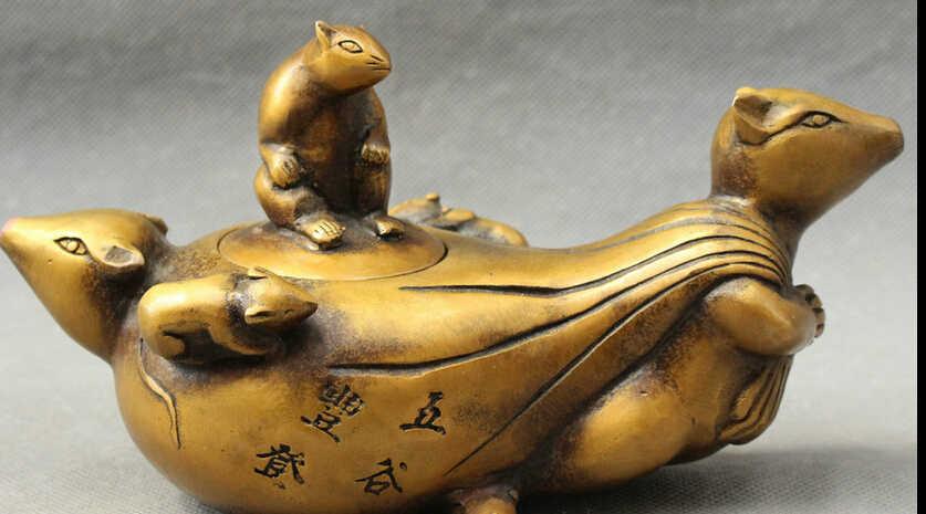 СЖД JP S0608 Народные Китайский Бронзовый Богатство 5 Мышь Глава Статуя Нести Деньги Мешок Вино Pot Чайник
