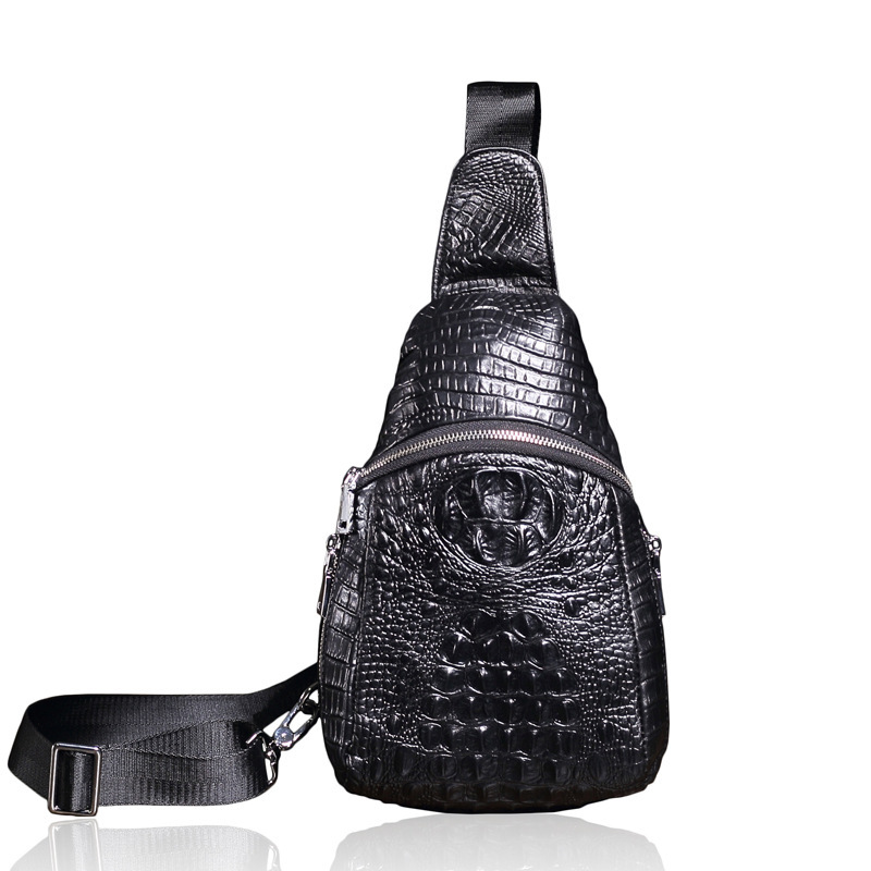 ФОТО Men's Genuine Leather Shoulder Messenger Bag Fashion Crocodile Pattern Sling Bag Pack