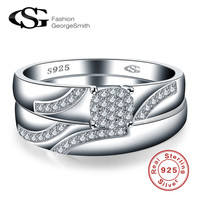 GS Brand Real 925 Sterling Silver Ring Sets For Women Wedding Engagement Crystal Zirconia Finger Anel