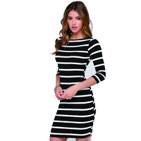 2017 Fashion Dresses Long Sleeve Autumn Winter Women S Round Neck Black And White Stripes Long