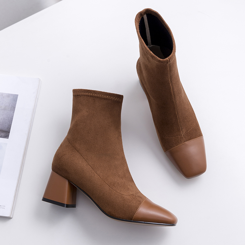 Vangull Women Boots Woman Genuine Leather cow leather suede short boots fashion Handmade Classic pointed toe Elastic casual wildVangull Women Boots Woman Genuine Leather cow leather suede short boots fashion Handmade Classic pointed toe Elastic casual wild