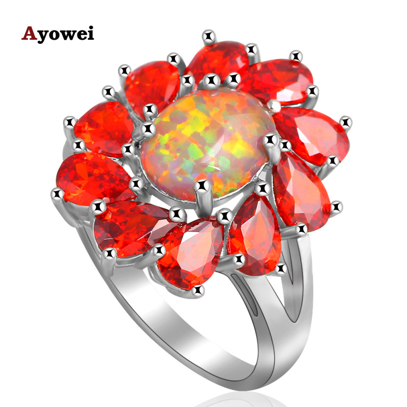 Huge Prom Rings for Women Orange fire Opal Silver Stamped fashion jewelry Orange Zirconia Rings USA size #6#7#7.5#8#9#10 OR670A