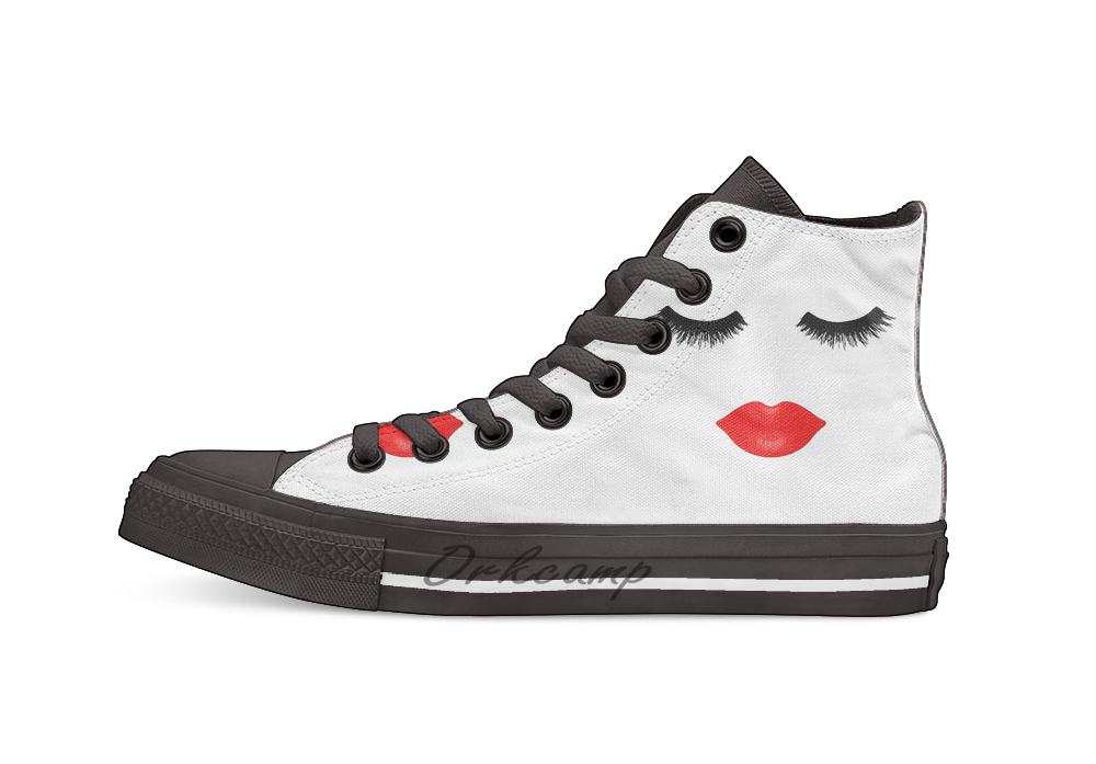 Lips and Lashes Casual High Top Canvas <font><b>shoes</b></font> sneakers For Drop shipping image
