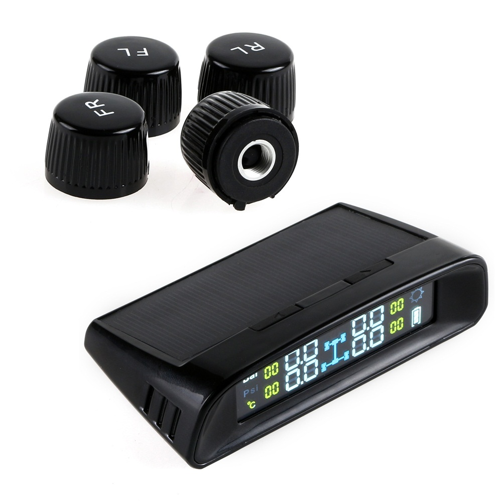 NEVERLAND TPMS LCD Display Car Wireless Tire Tyre Pressure Monitoring System 4 External Sensors For Cars Solar Power