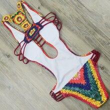 Sexy Bandage One Piece Swimsuit Floral Swimwear Women 2019 Backless Monokini Push Up Swim Suits High Cut Trikini Bathing Suit XL