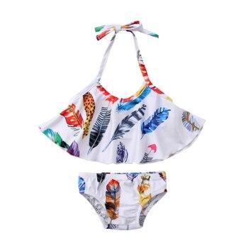 2pcs bikini suit US Stock Newborn Kids Baby Girl ruffles  Swimwear halter Flower Two-piece Swimsuit Bathing  Beachwear Купальник
