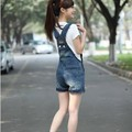 New 2016 Denim Overalls Fashion Brand Plus Size Vintage Button Pleated Jumpsuits Rompers Overalls Denim Shorts Women Z892