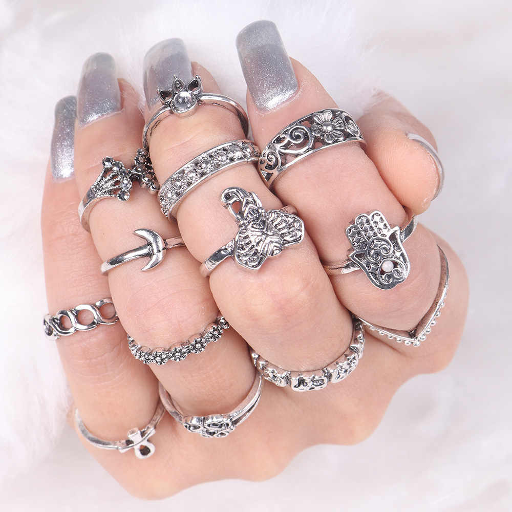 Bohemian Retro Crown Crystal Ring Knuckle Wedding Ring Set Steampunk Anillos Anel Rings Gold Silver Moon Jewelry student Gift