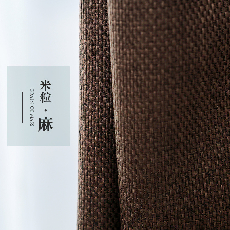 85 Shading Modern Style Solid Color Linen Blackout Curtain for Living Room Window Custom Made