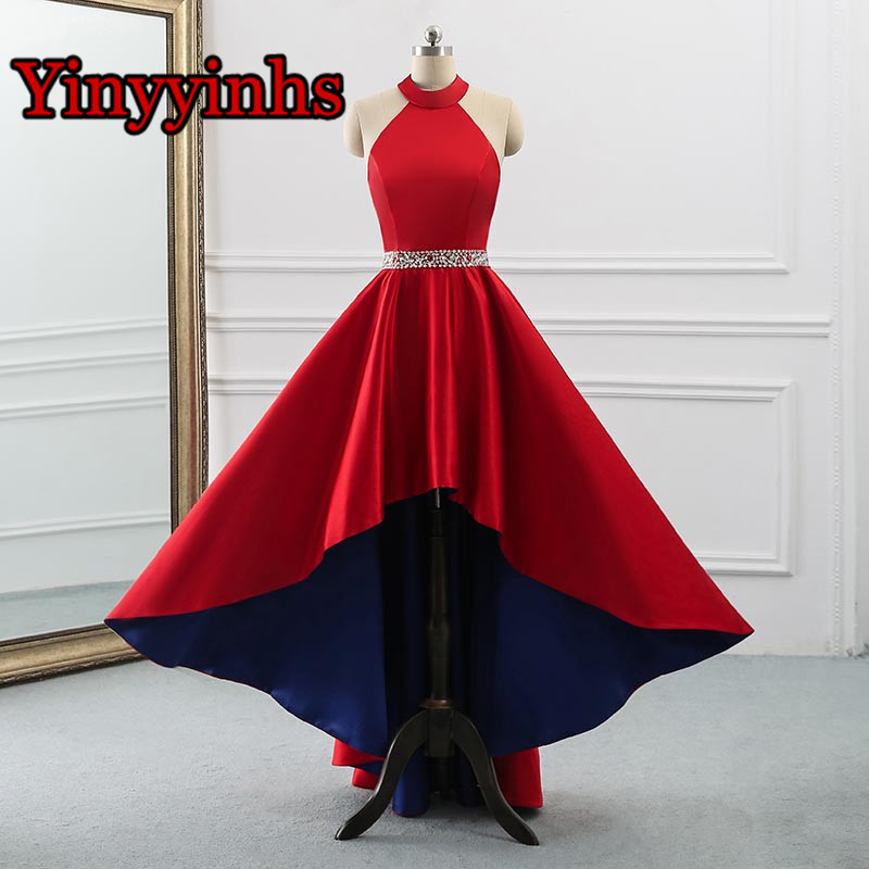Yinyyinhs Women's Halter High Low Evening   Prom     Dresses   Long A-Line Satin Beaded Waist Homecoming Formal Gowns Lace Up Back