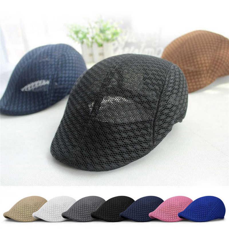 Unisex erkekler kadınlar güneş örgü bere kap Newsboy Cabbie düz doruğa şapka Casquette nefes bereliler