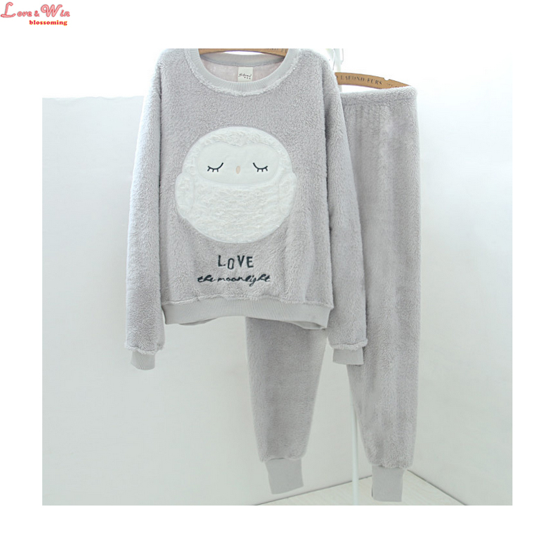 warm winter flannel thick cartoon cute pajamas set women fluffy ... fdc35dd65