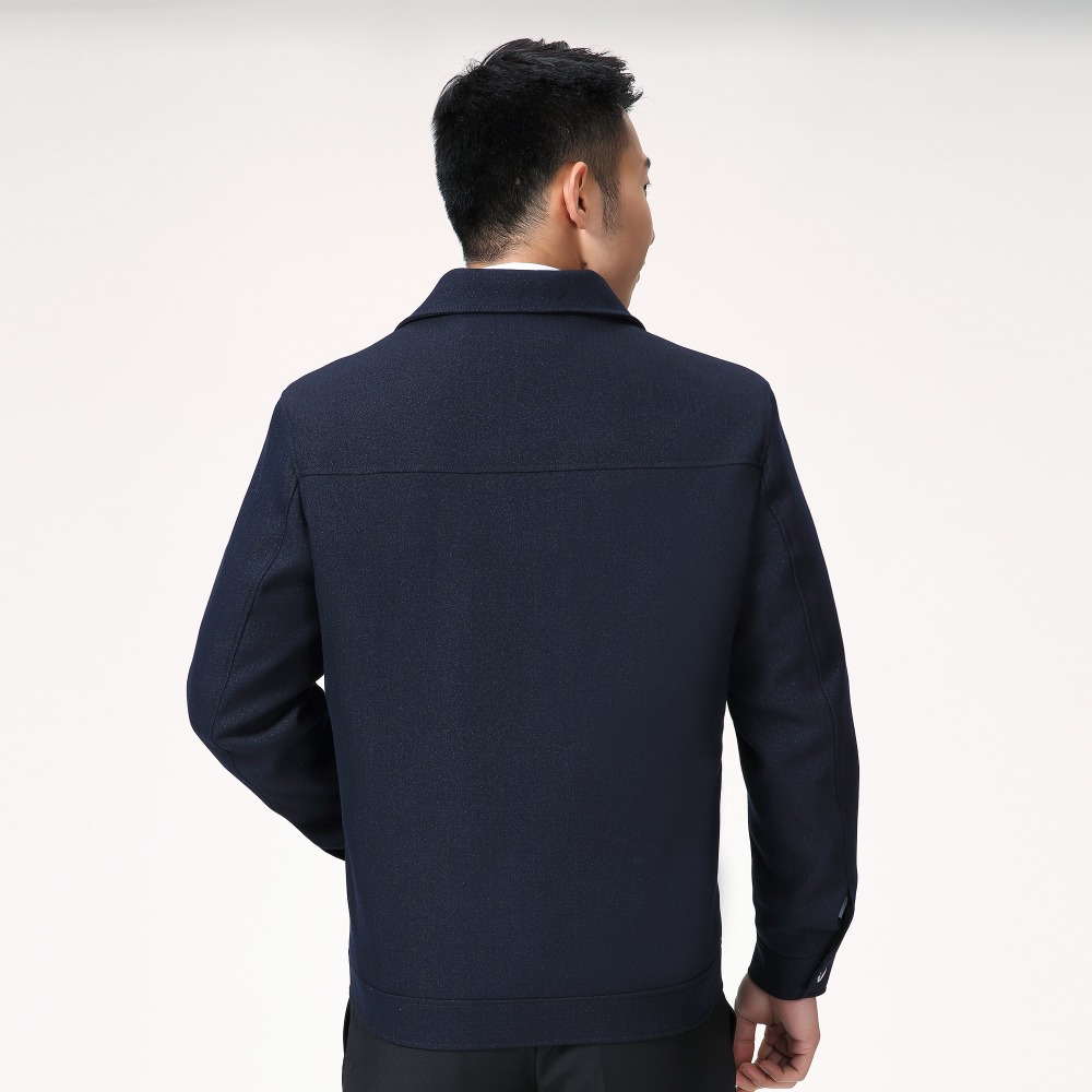 Mature Man Casual Jacket Black Navy Blue Solid Colour Basic Coat Male Turn Down Collar Zipper Front Outerwear Mens Spring Autumn in Jackets from Men 39 s Clothing