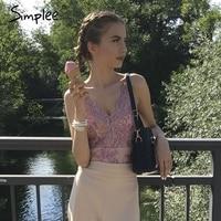 Simplee Deep V 2017 Women Jumpsuit Romper Bodysuit Mesh Flower Zipper Bodysuit Sexy Backless Overalls Jumpsuit