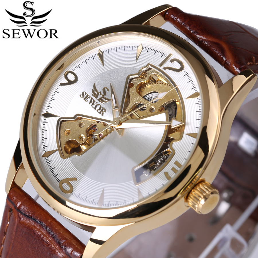 2017 Fashion Design Watch Mens Automatisk Mekanisk Watch Ekte Lær Rem SEWOR Top Brand Skeleton Luxury Men Watches Box