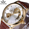2017 Fashion Design Watch Mens Automatic Mechanical Watch Genuine Leather Strap SEWOR Top Brand Skeleton Luxury Men Watches Box