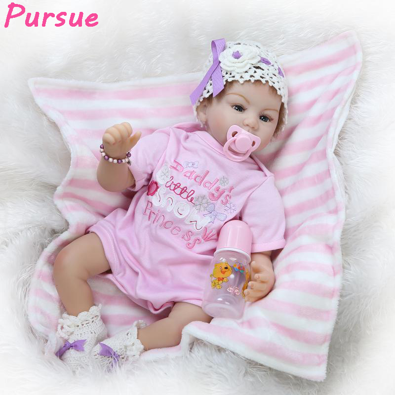 Pursue 22/55cm Silicone Reborn babies Soft Body Lifelike Poseable Baby Girl Doll Realistic Weighted Newborn Baby Infant Doll pursue 22 57 cm reborn babies silicone