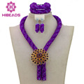 Purple Costume Jewelry Set Nigerian Wedding African Beads Set Crystal Braid Pendant Necklace Set Free Shipping WA386
