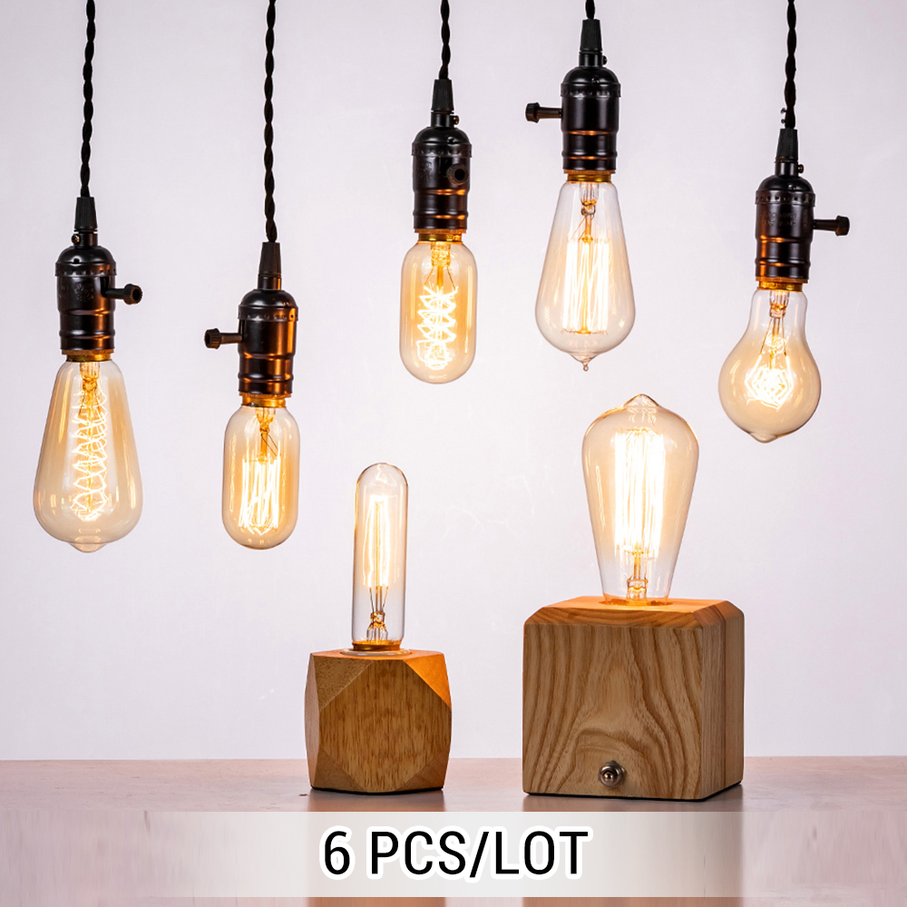 6 Pcs/lot Edison Light Bulb E27/E14 Vintage Lamp 110V/220V Ampoule For Home/bedroom/living Room Decor 40W/60W Incandescent Bulb