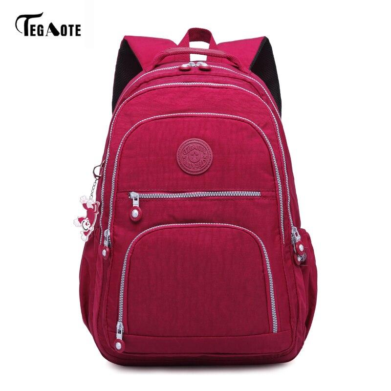 TEGAOTE Classic Backpack Waterproof Women Nylon Teenage-Girls Female Casual for Mochila