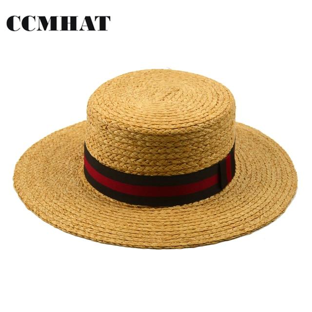 CCMHAT Raffia Straw Hat For Women Flat Top Wide Brim Raffia Straw Sun Hat  For Men Summer Casual Beach Panama Raffia Flat Sun Hat faa5797a844
