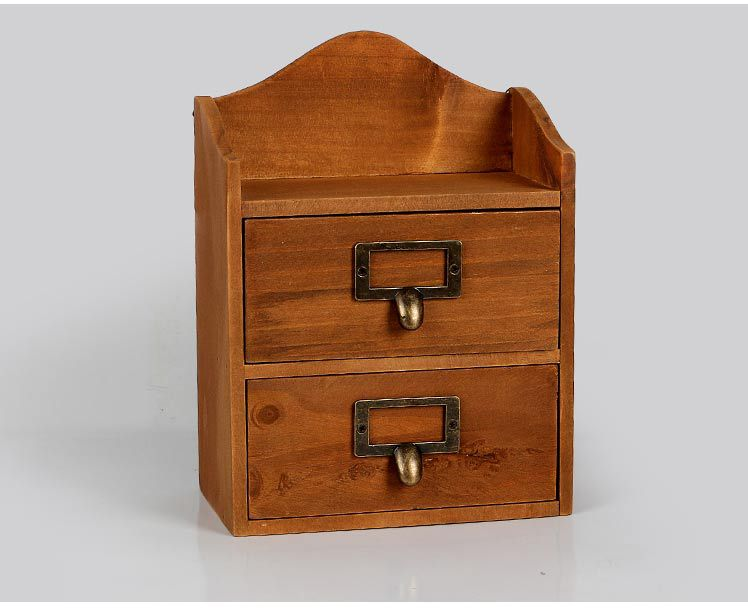 1PC Zakka retro style wooden grocery drawer cabinets hanging on the wall wooden cabinet finishing storage box JL 0946