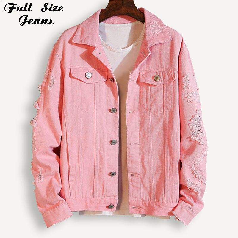 Plus Size Boyfriend Pink Lapel Denim   Jacket   For Women 3Xl 5Xl Streetwear Loose Ripped Red   Basic   White Jeans Coat Casual Outwear
