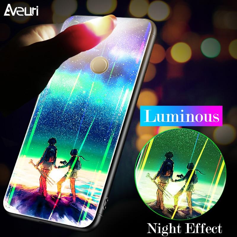 Luxury Luminous Aurora Glass Back Phone Case For Huawei Hono