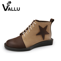 VALLU 2017 Autumn Handmade Shoes Women Boots Genuine Leather Lace Up Flat Heel Ankle Boots