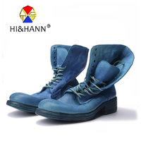 Water stained color Italian craftsmanship to do the old men's American Western Boots Men Fashion Med Boot Free shipping