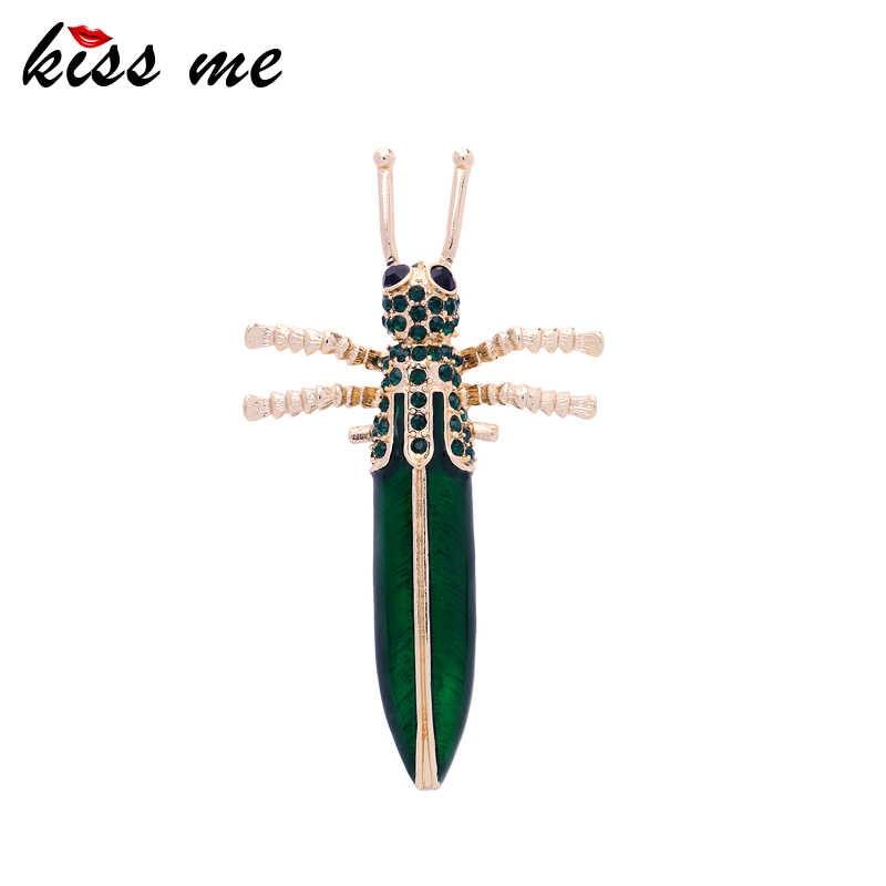 KISS ME Unico Verde Dello Smalto Del Rhinestone Spilli Grande Insetto Spille per le Donne 2018 Nuovo Gioelleria raffinata e alla moda