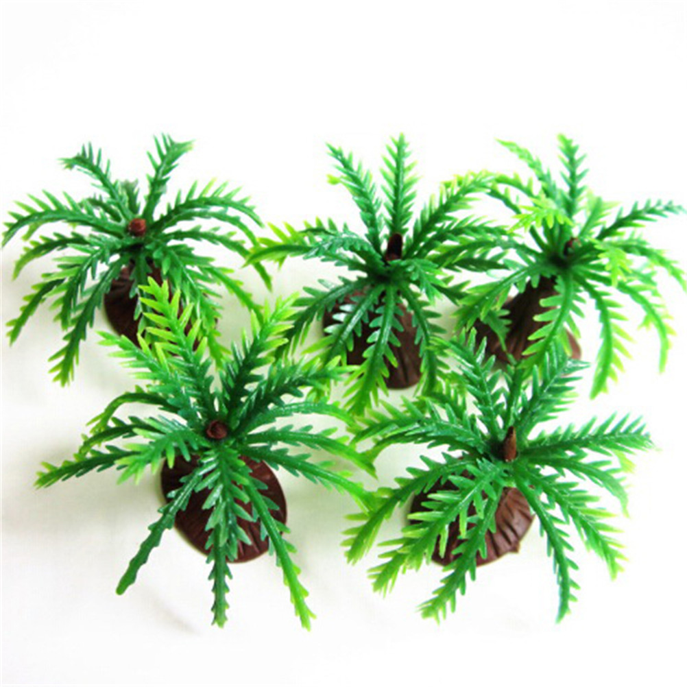 2019 Latest Design 10pcs New Mini Landscape Model Palms Tree Fish Tank Decoration Aquatic Plants Green Coconut Green Scenery Kids Toy Chills And Pains