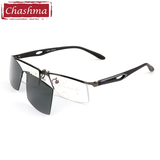 9a4a46a928 Chashma Brand Verifocal Glasses Men Half Frame Magnet Optical Eyewear Progressive  Lenses Reading Glasses with Magnetic Clips