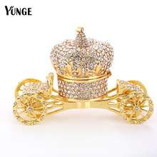 Crystal Pumpkin Car Figurine Vintage Collectible Crown Carriage Souvenir Wedding Home Decoration Gift Magnet Metal Crafts