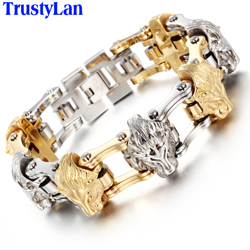 TrustyLan Gothic Jewelry Solid Heavy Golden Color 316L Stainless Steel Bracelet Men Bicycle Chain Lion Heads Mens Bracelets