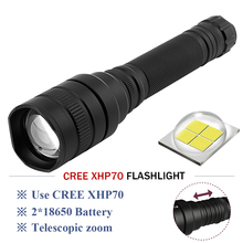 CREE-XHP70 LED tactical flashlight powerful led 10000lm lanterna Zoom linterna rechargeable torch 2x18650 battery