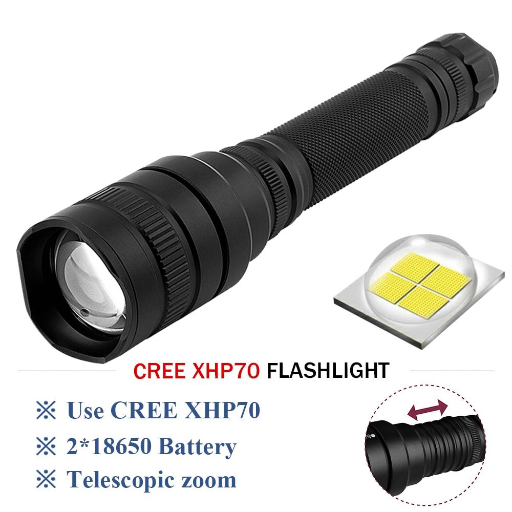 XHP70 LED tactical flashlight powerful led flashlight 8000 lumens lanterna Zoom linterna rechargeable torch 2x18650 battery