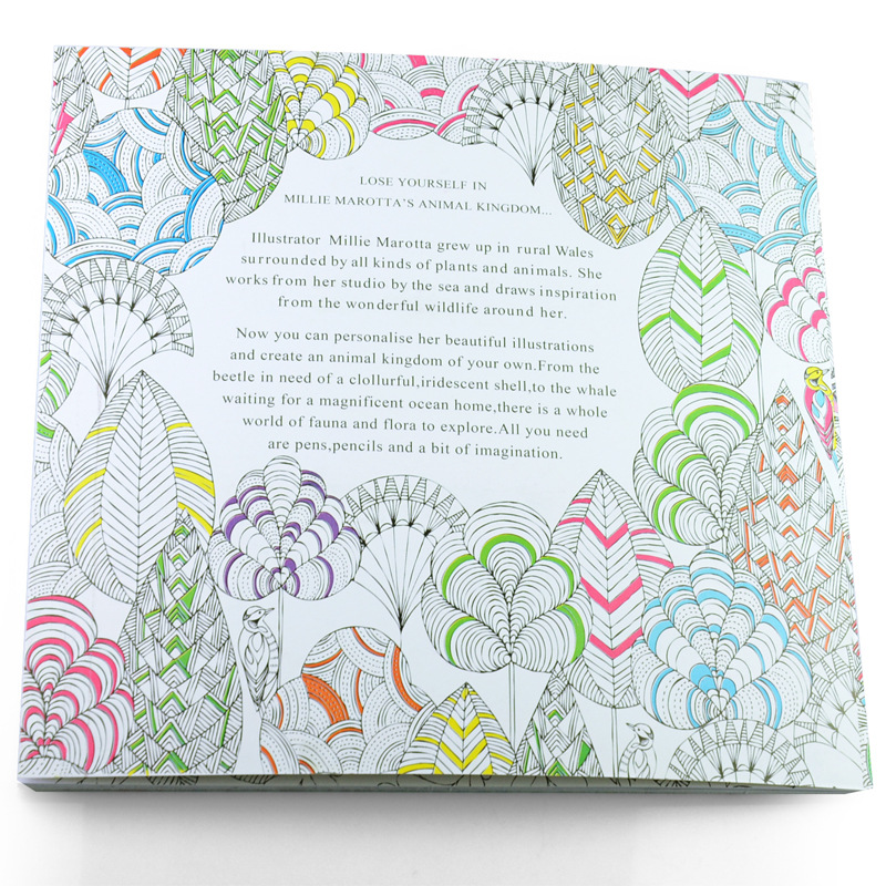 1 Pcs 24 Pages Cute English Edition Animal Kingdom Coloring Book