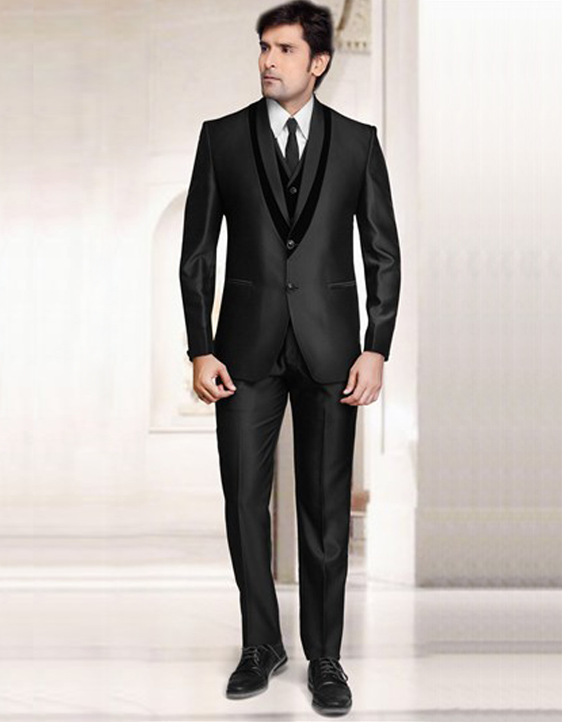 Online Shop India Black Notch Lapel Two Buttons Two Pockets Groom ...