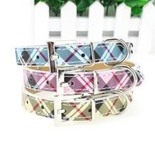 Luxury Plaid Dog Collars with Diamanté Bone Detail