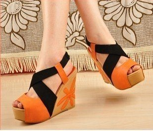 2012 Free shipping Fashion and sweety women's/lady's wedge embroider platform high-heeled sandals KE79
