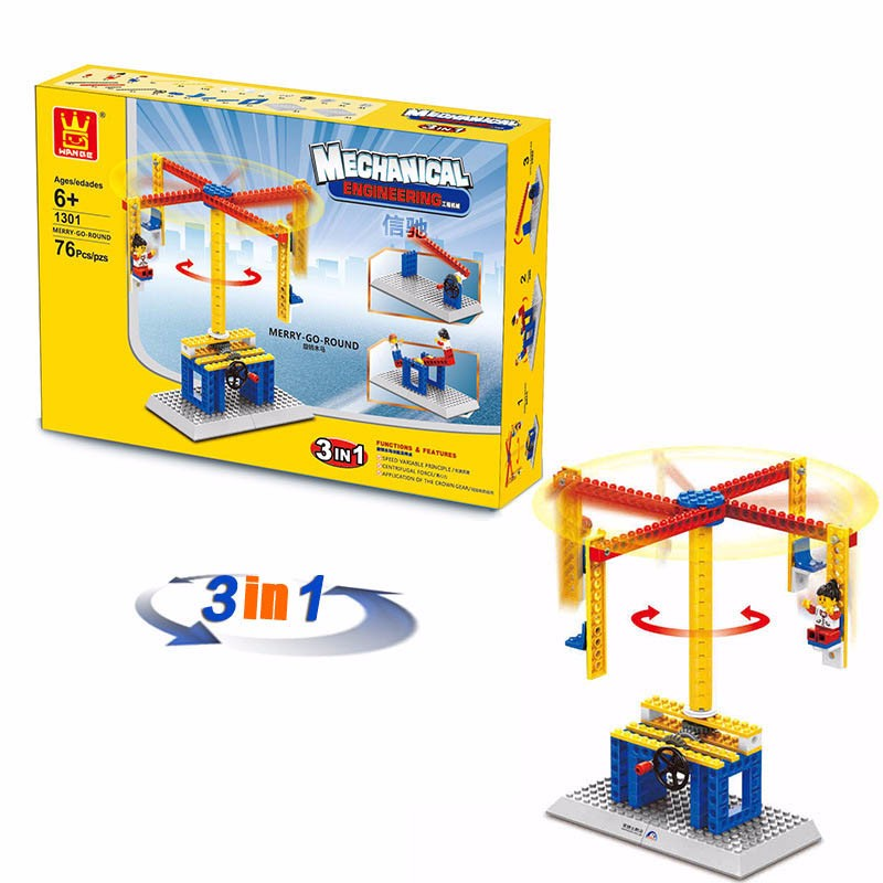 Mechanical Engineer Building Blocks Teaching Aid Toys 3 in 1 Windmill Merry Go Round Lift Toys Compatible with Lego Wange