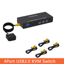 4 Port KVM Switch Box With Desktop Controller Switch multiple computers share USB device monitor Send Connector Wire  FJ-401UK
