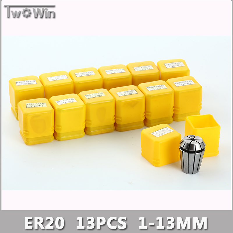ER20 Collet Set 13pcs er20 Collet Chuck From 1mm to 13mm Beating 0.1MM Precision For CNC Milling Lathe Tool and Spindle Motor.  цены
