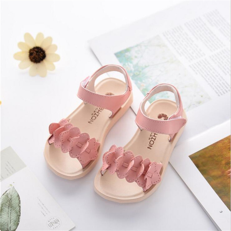 2018 Summer New Girls Sandals Genuine Leather Princess Shoes Cute Flower Baby Shoes Comfortable non-slip Children Sandals