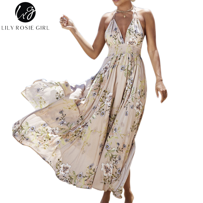 Lily Rosie Girl Deep V Neck Boho Floral Print Dress Women Summer Beach Off Shoulder Sexy Backless Maxi Long Dresses Vestidos